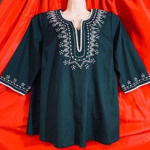 WOMAN WITHIN  Embroidered Cotton Tunic Blouse NWOT